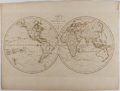 """Books:Maps & Atlases, [Antique Map] """"Map of the Terrestrial Globe; With the Latest Discoveries"""". 21.75"""" x 16.25"""". Engraved for John Harrison, 1787..."""
