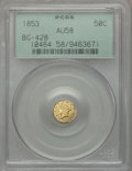 California Fractional Gold: , 1853 50C Liberty Round 50 Cents, BG-428, R.3, AU58 PCGS. PCGSPopulation (64/155). NGC Census: (14/44). ...