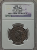 Large Cents, 1832 1C Large Letters -- Obv Damage -- NGC Details. VF, a and 18381C -- Burnished -- NGC Details. VF. NGC Census: (2... (Total: 2coins)