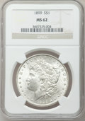 Morgan Dollars: , 1899 $1 MS62 NGC. NGC Census: (1106/6094). PCGS Population(1327/8597). Mintage: 330,846. Numismedia Wsl. Price for problem...