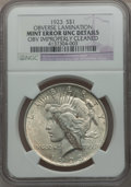 Errors, 1923 $1 Peace Dollar Obverse Lamination -- Obverse ImproperlyCleaned,-- NGC Details. UNC. NGC Census: (122/261097). PCGS P...