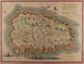 """Books:Maps & Atlases, [Antique Map] """"Geographical Plan of the Island & Forts of Saint Helena"""". 23.5"""" x 18"""" overall. Created by Robert P. Read and ..."""