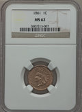 Indian Cents: , 1861 1C MS62 NGC. NGC Census: (91/603). PCGS Population (96/879).Mintage: 10,100,000. Numismedia Wsl. Price for problem fr...