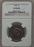 Large Cents: , 1828 1C Large Narrow Date XF45 NGC. NGC Census: (13/107). PCGSPopulation (13/77). Mintage: 2,260,624. Numismedia Wsl. Pric...