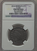 Large Cents, 1814 1C Crosslet 4 -- Rev Graffiti -- NGC Details. Fine. S-294.Mintage: 357,830...