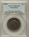 Large Cents, 1820 1C Small Date MS61 Brown PCGS. N-15, R.1....