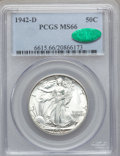 Walking Liberty Half Dollars: , 1942-D 50C MS66 PCGS. CAC. PCGS Population (1113/139). NGC Census:(867/140). Mintage: 10,973,800. Numismedia Wsl. Price fo...