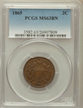 Two Cent Pieces: , 1865 2C MS63 Brown PCGS. PCGS Population (242/239). NGC Census:(188/535). Mintage: 13,640,000. Numismedia Wsl. Price for p...
