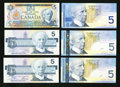 Canadian Currency: , $5 Canadian Notes.. ... (Total: 6 notes)
