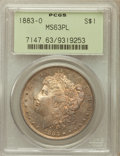 Morgan Dollars: , 1883-O $1 MS63 Prooflike PCGS. PCGS Population (868/761). NGCCensus: (578/639). Numismedia Wsl. Price for problem free NG...