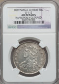 Bust Half Dollars: , 1829 50C Small Letters -- Improperly Cleaned -- NGC Details. AU.O-112. NGC Census: (70/753). PCGS Population (145/697). M...