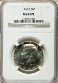 Kennedy Half Dollars, 1969-D 50C MS64 Prooflike NGC. NGC Census: (236/452). PCGSPopulation (366/523). Mintage: 129,881,800. Numismedia Wsl. Pric...