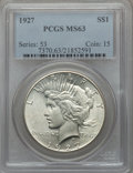 Peace Dollars: , 1927 $1 MS63 PCGS. PCGS Population (2327/2002). NGC Census:(1554/1096). Mintage: 848,000. Numismedia Wsl. Price for proble...