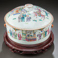 Asian:Chinese, A CHINESE FAMILLE ROSE PORCELAIN COVERED BOWL ON STAND. 19thcentury. 7 inches high x 11 inches diameter (17.8 x 27.9 cm). ...