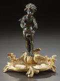 Paintings, A PATINATED AND GILT BRONZE FIGURE, AFTER SYLVAIN KINSBURGER: PUTTO ON WAVE. (French, 1855-1935), 20th century . Mar...