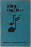 Books:Children's Books, [Girl Scouts]. Sing Together. New York: Girl Scouts Inc.,1936. Original wrappers. Light toning. Some stains to end ...