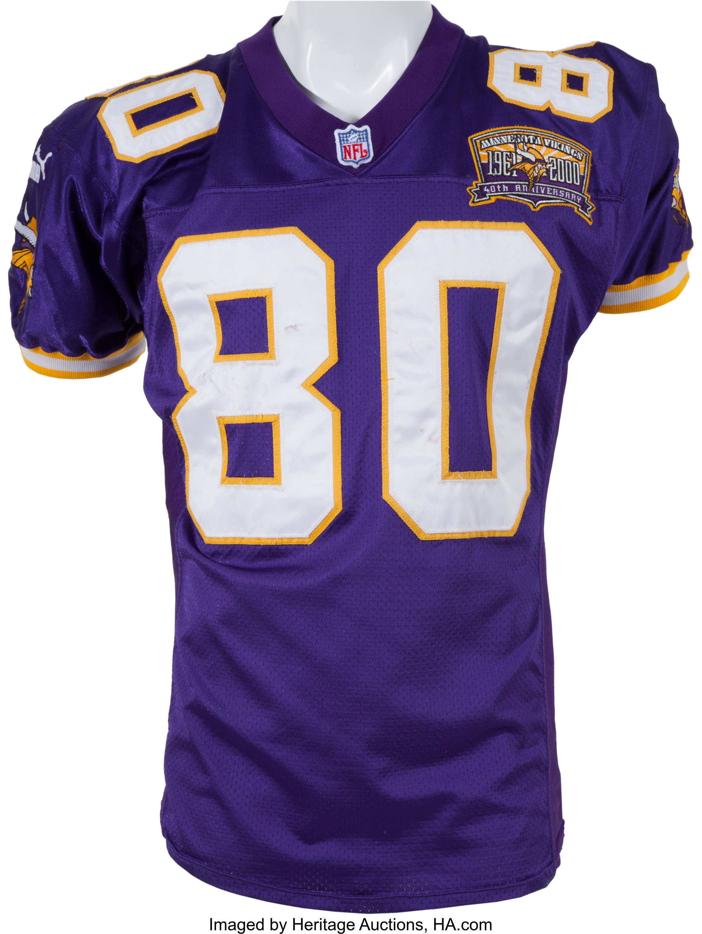 hot sale online 6ccc1 3a3bd 2000 Cris Carter Game Worn, Signed Minnesota Vikings Playoff ...