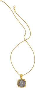 Jewelry, A ROMAN COIN, GOLD PENDANT-NECKLACE. The pendant features a Roman coin set in 18k gold, suspended by a 14k gold chain. Gross... (Total: 2 Items)