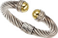 "Estate Jewelry:Bracelets, A GOLD, STERLING SILVER BRACELET, DAVID YURMAN. The 14k gold andsterling silver ""Cable"" bracelet weighs 47.15 grams, marked..."