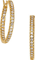 Estate Jewelry:Earrings, A PAIR OF DIAMOND, GOLD HOOP EARRINGS. The inside-out hoops featurefull-cut diamonds weighing a total of 0.54 carat, set in...