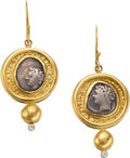 Estate Jewelry:Earrings, A PAIR OF ROMAN COIN, DIAMOND, GOLD EARRINGS. The earrings featureRoman coins set in 18k gold, having diamond accents. Gros...