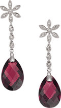 Estate Jewelry:Earrings, A PAIR OF GARNET, DIAMOND, WHITE GOLD EARRINGS. The earringsfeature pear-shaped garnet briolette measuring 15.00 x 10.00 mm...
