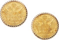 Estate Jewelry:Earrings, A PAIR OF AUSTRIAN DUCAT, GOLD EARRINGS. The earrings featureAustrian 1 Ducat gold coins, set in 14k gold. Gross weight 9.3...