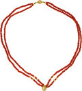 Estate Jewelry:Necklace, A CORAL, GOLD NECKLACE. The double strand necklace is composed of coral beads measuring approximately 3.00 mm, enhanced by 1...