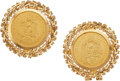 Estate Jewelry:Earrings, A PAIR OF MEXICAN 2-1/2 PESOS GOLD COIN, GOLD EARRINGS. Theearrings feature Mexican 2-1/2 Pesos gold coins dated 1945, set ...