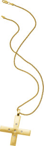 Jewelry, A DIAMOND, GOLD PENDANT-NECKLACE. The 14k gold pendant features full-cut diamonds weighing a total of approximately 0.10 car...
