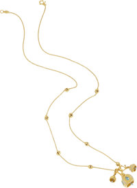 AN AQUAMARINE, DIAMOND, GOLD NECKLACE, PAUL MORELLI The 'Meditation Bells' necklace features one 'Raja' bell set w