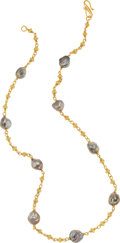 Estate Jewelry:Necklace, A FRESHWATER PEARL, GOLD NECKLACE. The necklace features silver freshwater pearls ranging in size from 7.50 to 10.00 mm, sus...