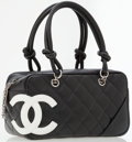 Luxury Accessories:Bags, Chanel Black & White Quilted Lambskin Leather Cambon BowlingBag. ...