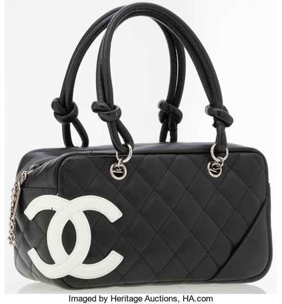Chanel Black   White Quilted Lambskin Leather Cambon  0b8ae1b4df4da