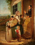 Fine Art - Sculpture, European:Antique (Pre 1900), HANS BRUNNER (German, 1813-1888). Peasant Mother and ChildrenSeeking Food from the Church, 1835 [or 38]. Oil on canvas...