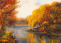 American:Regional, BEULAH DRIVER (American, 20th Century). Texas AutumnLandscape. Oil on canvas. 23 x 32-1/2 inches (58.4 x 82.6 cm).Sign...