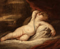 Fine Art - Painting, European:Antique  (Pre 1900), Manner of TITIAN (TIZIANO VECELLI) (Italian, 1485-1576).Sleeping Cupid, circa 1700. Oil on canvas. 25 x 30 inches(63.5...