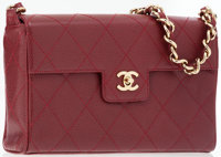 Chanel Burgundy Caviar Leather Flap Bag with Gold Hardware