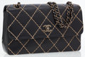 Luxury Accessories:Bags, Chanel Black Lambskin Leather Flap Bag with Beige Stitching andBronze Hardware. ...