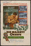 """Movie Posters:Adventure, His Majesty O'Keefe (Warner Brothers, 1954). One Sheet (27"""" X 41"""").Adventure. ..."""