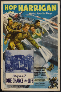 "Hop Harrigan (Columbia, 1946). One Sheet (27"" X 41"") Chapter 7 --""One Chance for Life."" Serial"