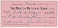 """Autographs:Celebrities, Florence Harding Check Signed """"Florence Kling Harding"""".5.75"""" x 2.75"""", May 3, 1919, on Marion National Bank check stock,...(Total: 1 Item)"""