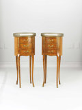 Furniture , A Pair of Louis XV Style Stands. Unknown maker, probably French. Late 19th/early 20th century. Wood, brass, marble. Unmark... (Total: 2 Items)