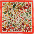 """Luxury Accessories:Accessories, Hermes Red, Green, & Gold """"Tourbillons"""" by Christiane VauzellesSilk Scarf. ..."""