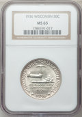 Commemorative Silver: , 1936 50C Wisconsin MS65 NGC. NGC Census: (1325/1616). PCGSPopulation (2226/1987). Mintage: 25,015. Numismedia Wsl. Price f...