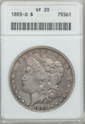 1893-O $1 VF20 ANACS. NGC Census: (73/2106). PCGS Population (121/2918). Mintage: 300,000. Numismedia Wsl. Price for pro...