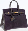 Luxury Accessories:Bags, Hermes Special Order Horseshoe 35cm Shiny Amethyst & GraphitePorosus Crocodile Birkin Bag with Gold Hardware. ...