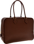 Luxury Accessories:Bags, Hermes 32cm Chocolate Epsom Leather Plume Bag with Gold Hardware....