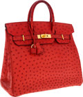 Luxury Accessories:Bags, Hermes 32cm Rouge Vif Ostrich HAC Birkin Bag with Gold Hardware....