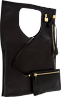 Luxury Accessories:Bags, Tom Ford Black Leather Lock Flat Foldover Bag with Gold Hardware....